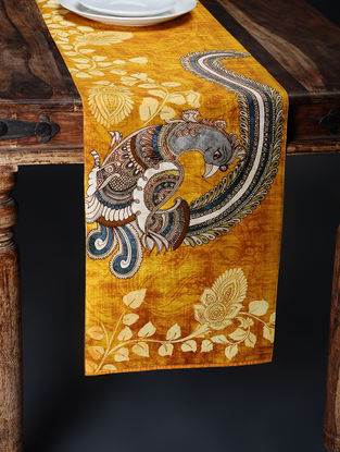 Yellow Printed and Embroidered Kalamkari Table Runner (88in x 12.5in)