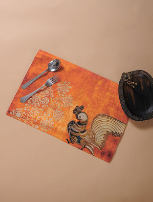 Orange Printed and Embroidered Kalamkari Place Mat (17.5in x 11.5in)-Set of 4