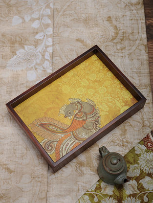 Yellow Printed MDF and Wood Kalamkari Serving Tray (13.3in x 9.2in)