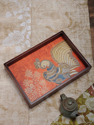 Orange Printed MDF and Wood Kalamkari Serving Tray (L:13.5in, W:9.2in, H:2.2in)