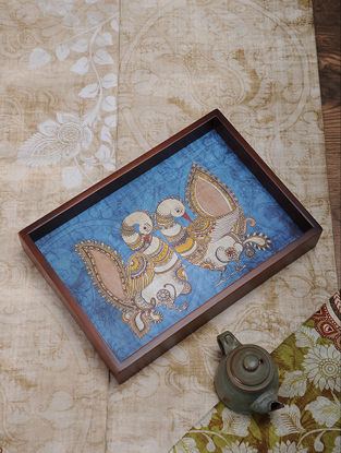 Blue Printed MDF and Wood Kalamkari Serving Tray (L:13.5in, W:9.2in, H:2.2in)