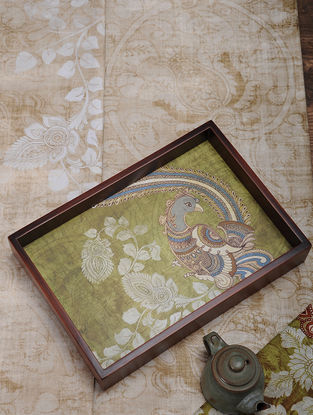 Green Printed MDF and Wood Kalamkari Serving Tray (L:13.5in, W:9.2in, H:2.2in)