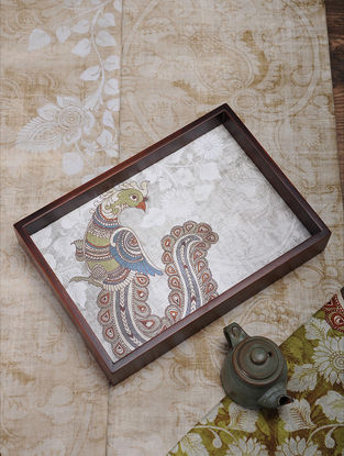 Ivory Printed MDF and Wood Kalamkari Serving Tray (L:13.5in, W:9.2in, H:2.2in)