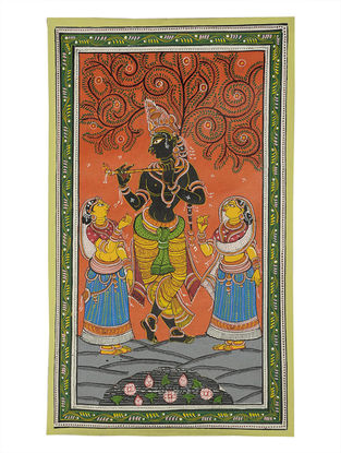 Radha Krishna Pattachitra on Canvas 22in x 13in