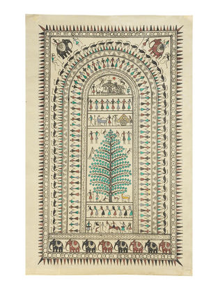 Soura Pattachitra on Silk 21.6in x 14in