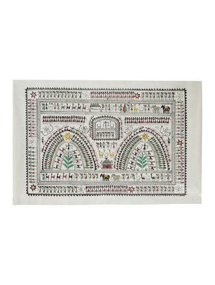 Various Types of Tribal Art Pattachitra on Silk 14in x 21.6in