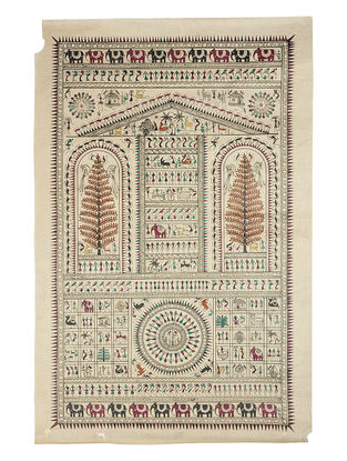 Different Types of Soura Cultures Pattachitra on Silk 32.5in x 20.5in