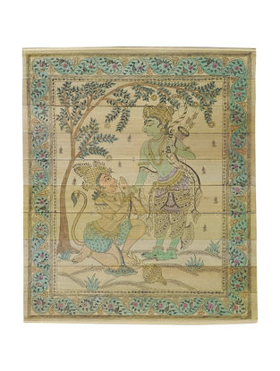 Rama Hanuman Madhur Milan Pattachitra on Palm Leaf 12in x 10.2in