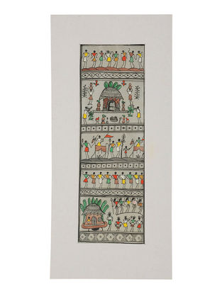 Tribal Art Pattachitra on Silk 14in x 6.5in