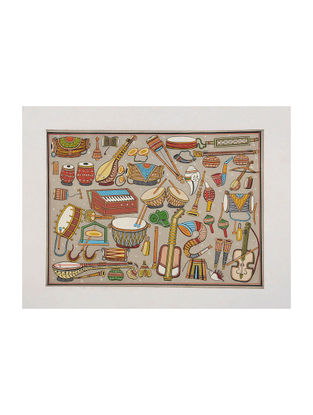 Varities of Musical Instruments Pattachitra on Silk 13.5in x 18in