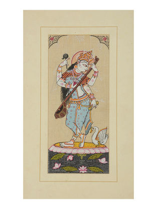 Saraswati Pattachitra on Silk 14.2in x 8.5in