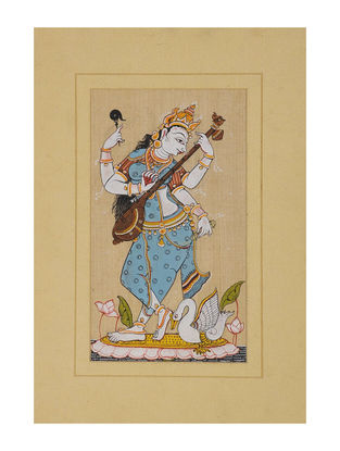 Saraswati Pattachitra on Silk 13in x 9in