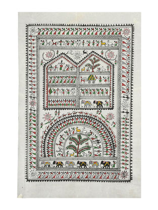Tribal Art Pattachitra on Silk 21.5in x 14in