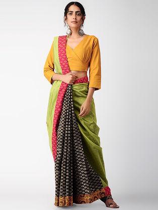 Black-Green Block-printed Constructed Cotton Saree with Cotton-Silk Palla