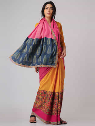 Orange-Pink Block-printed Constructed Cotton Saree