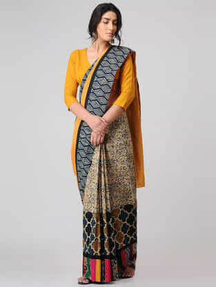 Beige-Yellow Block-printed Constructed Cotton Saree