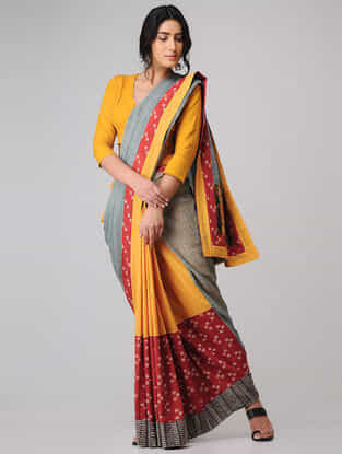 Yellow-Red Block-printed Constructed Cotton Saree with Linen Pallu