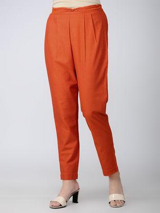 Orange Elasticated Waist Cotton Pants