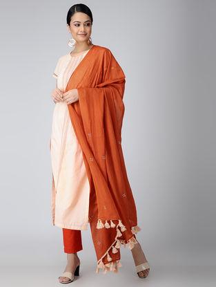 Orange Cotton Dupatta with Aari Embroidery
