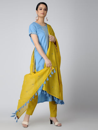 Yellow Cotton Dupatta with Aari Embroidery