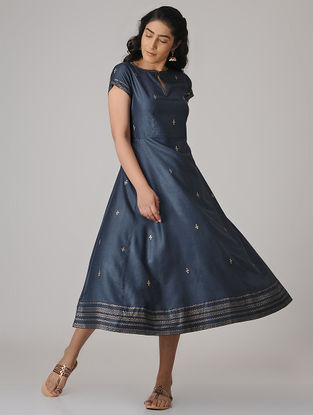 Blue Block-printed Cotton Silk Dress with Embroidery
