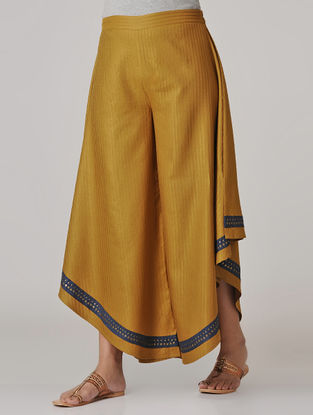 Mustard Hand-embroidered Elasticated Waist Cotton Silk Pants