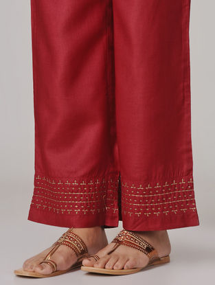 Red Hand-embroidered Tie-up Elasticated Waist Cotton Silk Pants