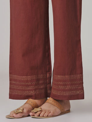 Maroon Block-printed Tie-up Elasticated Waist Cotton Flax Pants