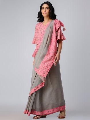 Grey-Pink Block-printed Kota Doriya-Cotton Saree with Blouse (Set of 2)