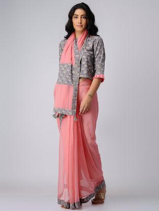 Pink-Grey Block-printed Kota Doriya-Cotton Saree with Blouse (Set of 2)