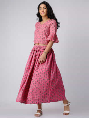 Pink Block-printed Cotton Top