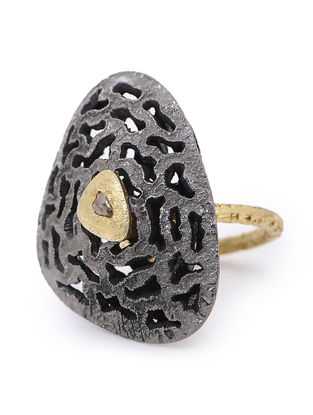 Gold-plated Adjustable Silver Ring