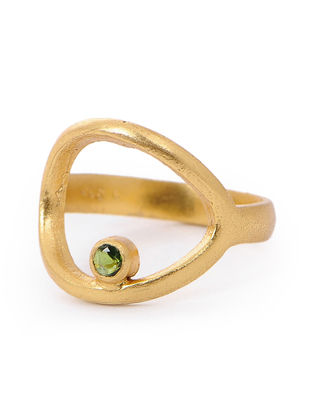 Tourmaline Gold-plated Silver Ring (Ring Size- 7)