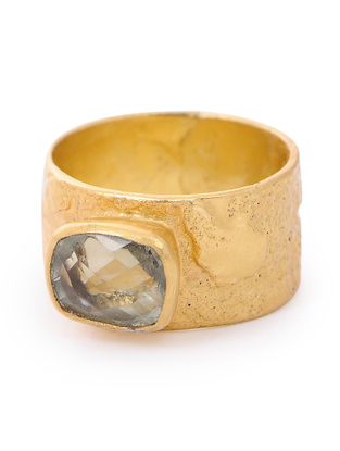 Green Amethyst Gold-plated Silver Ring (Ring Size- 8)