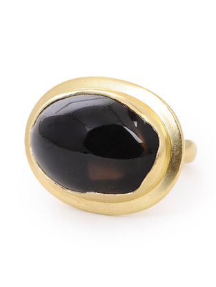 Smoky Topaz Gold-plated Silver Ring (Ring Size- 7.5)