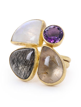 Amethyst and Black Rutile Gold-plated Silver Ring (Ring Size- 7.5)