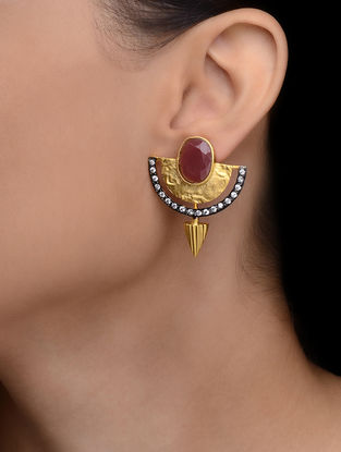 Maroon Gold-plated Earrings