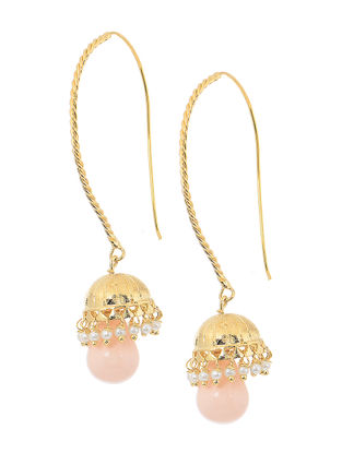 Pink Gold Tone Beaded Jhumkis