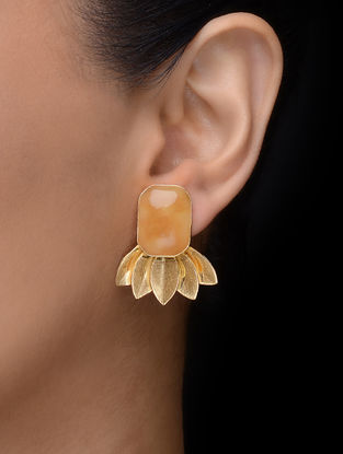 Orange Gold Tone Earrings