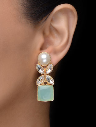 Green Gold Tone Earrings with Pearl