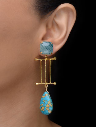 Green-Turquoise Gold Tone Earrings
