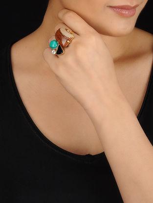 Multicolored Gold Tone Rhinestone and Pearl Ring
