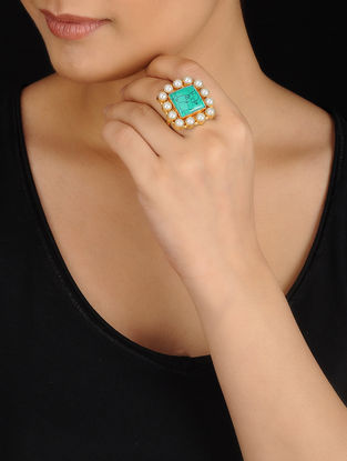 Blue-White Gold Tone Rhinestone and Pearl Ring