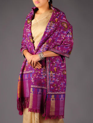 Pashmina Dorukha Kani Hand Woven Paisley Design Shawl by Aditi Collection