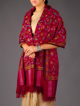 Pashmina Dorukha Kani Hand Woven Floral Design Shawl by Aditi Collection