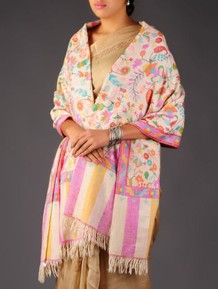 Pashmina Dorukha Kani Hand Woven Floral Paisley Shawl by Aditi Collection
