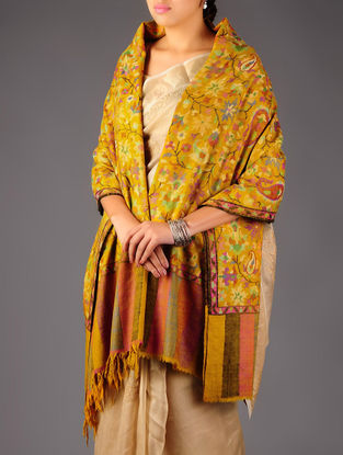 Pashmina Dorukha Kani Hand Woven Paisley Floral Maple Leaf Shawl by Aditi Collection