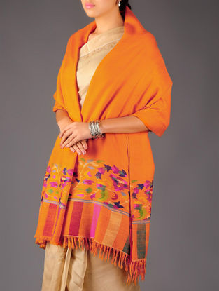 Pashmina Dorukha Kani Hand Woven Floral Border Shawl by Aditi Collection