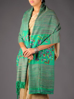 Superb Pashmina Dorukha Kani Hand Woven Mughal Boota Border Shawl by Aditi Collection