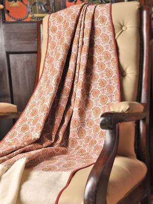 Badaami Jamawar Handwoven Shawl in Lambswool With Pashmina Pallas by Aditi Collection